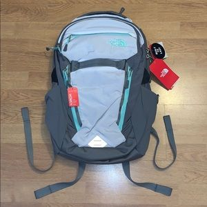 NWT The North Face Surge Backpack, White/Green